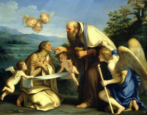 San Pedro da la comunión a maría