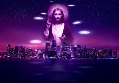 holograma de jesus sobre una ciudad
