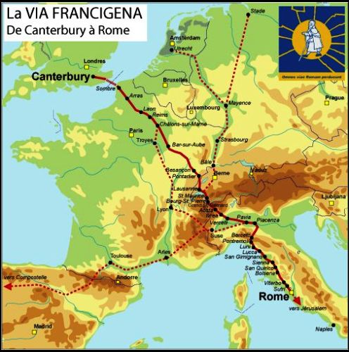 Resultado de imagen de la via francigena en inglaterra, francia e italia