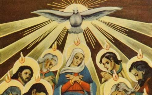 descenso del espiritu santo sobre maria y los apostoles
