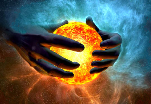 mundo creandose con dos manos