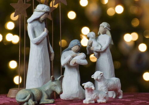 natividad en arbol de navidad fondo