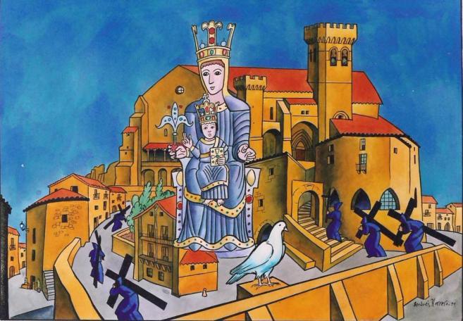 Santa María de Uxue, una Paloma Avisa sobre una Imagen Escondida, España (31 dic)