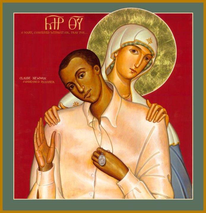 icono de Claude Newman con la Virgen María