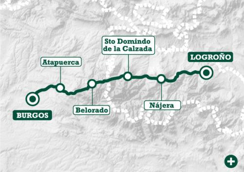 mapa del camino frances a santiago