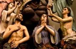 """Wooden statues in the Church of the Purgatory. """"Chiesa delle Anime del Porgatorio"""". Ibla, Ragusa. Val di Noto, Unesco World Heritage."""