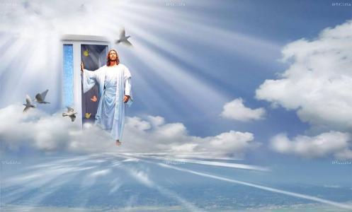 cielo con jesus en la puerta