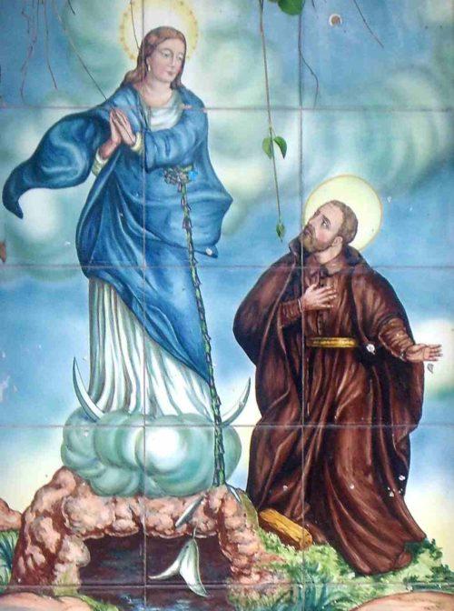 Mosaico de la aparición de la Virgen de los Liurios de Alcoy