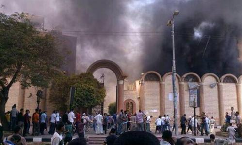 iglesia incendiada en egipto
