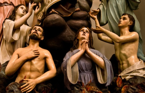 "Wooden statues in the Church of the Purgatory. ""Chiesa delle Anime del Porgatorio"". Ibla, Ragusa. Val di Noto, Unesco World Heritage."