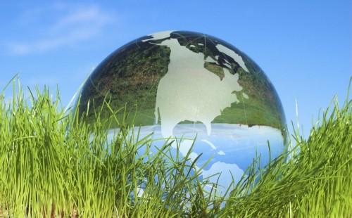 globo terraqueo entres pastos