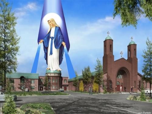 dibujo de virgen maria e iglesia de warraq fondo