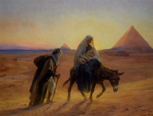 huida a egipto piramide de fondo