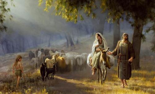 jose y maria en un burro