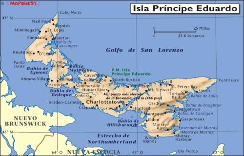 mapa de la isla del principe eduardo canada