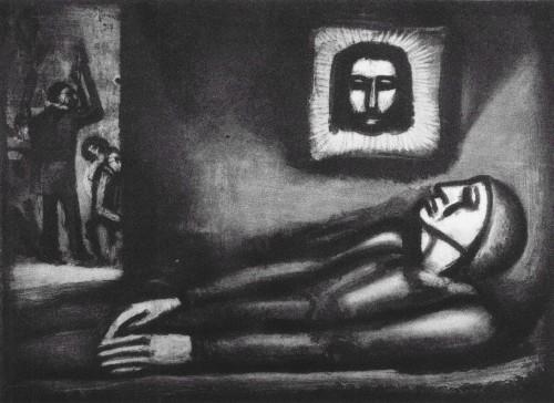 misericordia en blanco y negro con mujer en la cama