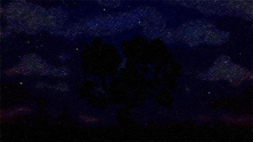 arbol en negro con cielo estrellado