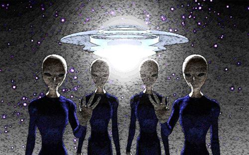 dibujo de aliens con plato volador atras