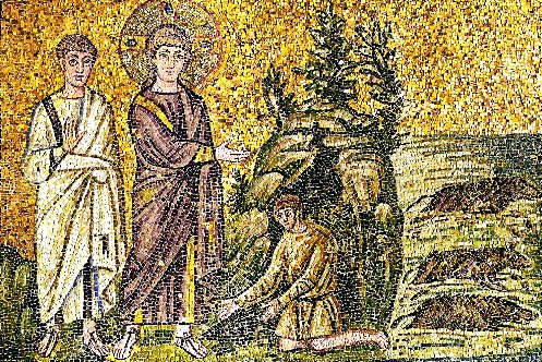 The Gadarene swine or the exorcism of two demons, (Mark 5:1-10). Jesus and an apostle. Mosaic (6th)