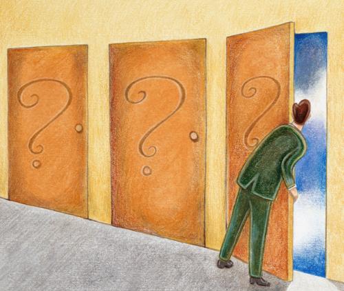 3 puertas con signos de interrogacion