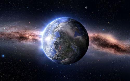 la tierra suspendida en el universo