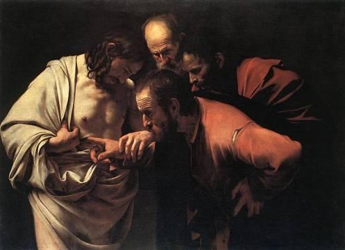 Pintura de Caravaggio Santo Tomas introduciendo un dedo en la llaga de Cristo