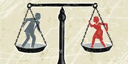 balanza ombre y mujer