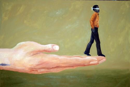 dibujo de hombre con ojos vendados arriba de una mano fe fondo