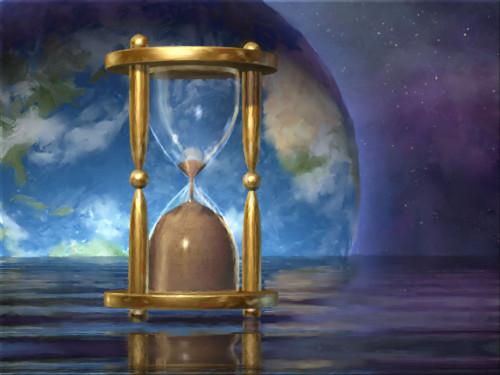 mundo y reloj de arena