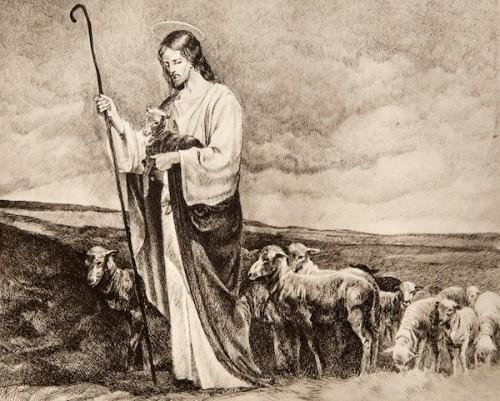 jesus buen pastor blanco y negro