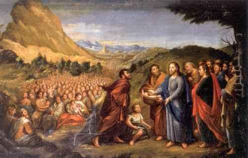 muchos esperando de comer de jesus