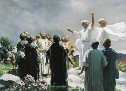 angeles explicando la ascensión de jesus