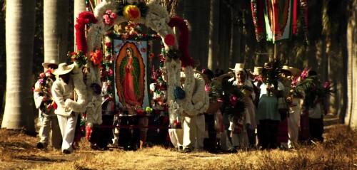 cuadro de virgen de guadalupe y aztecas fondo