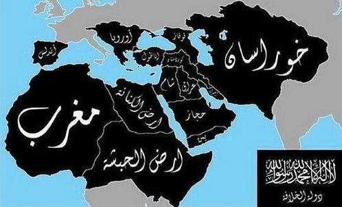 mapa del califato del estado islamico