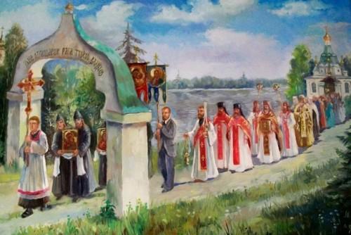 tarjeta de procesion del monasterio tikhon