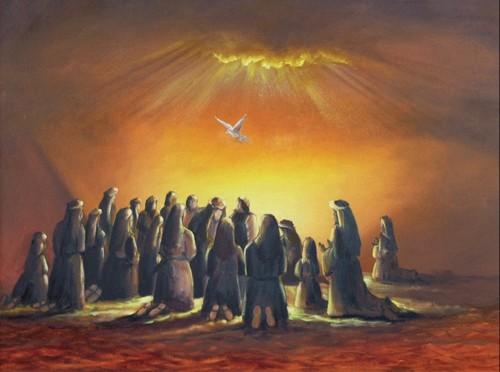 paloma y gente rezando