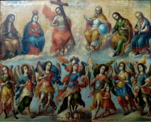 Los siete Arcángeles con la Santísima Trinidad y Santos. Anónimo, siglo XVIII.