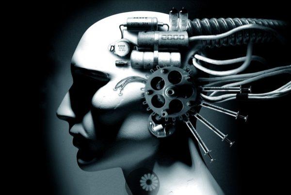 cabeza conectada digitalmente fondo