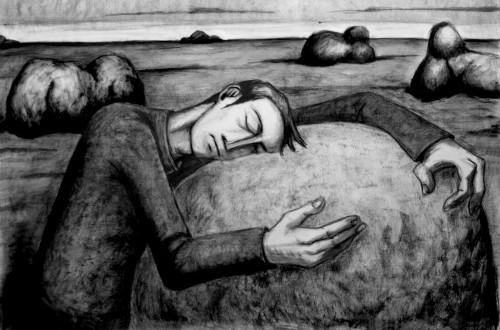 hombre durmiendo roca fondo