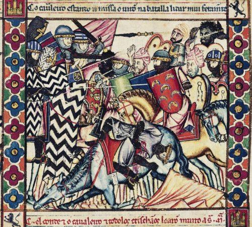 El Cid combatiendo contra los Moros