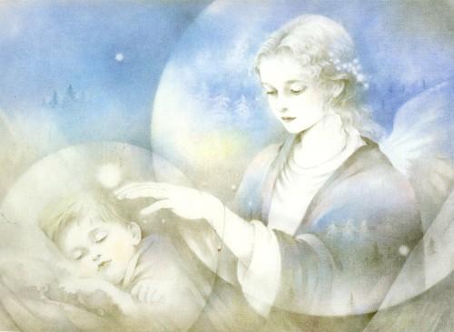 angel cuida a niño fondo