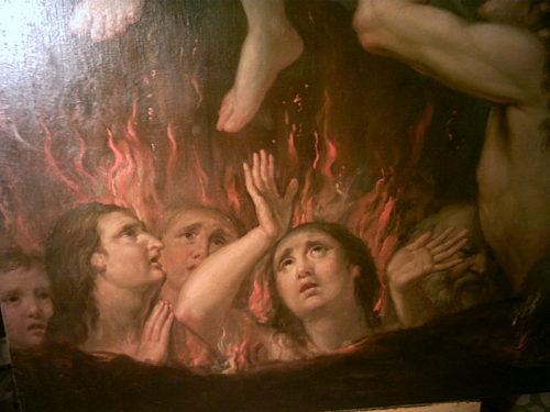 angel rescatando almas del purgatorio