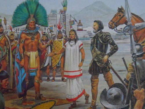 encuentro de españoles con indigenas