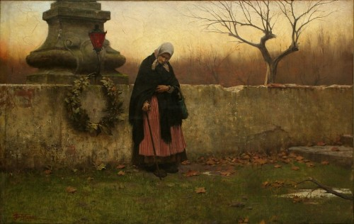 mujer visita cementerio fondo