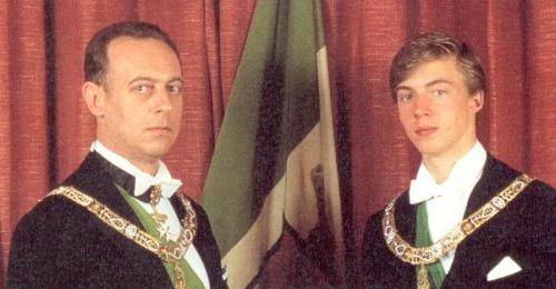 Amadeo de Saboya y su hijo Aimón de Saboya en el 1982