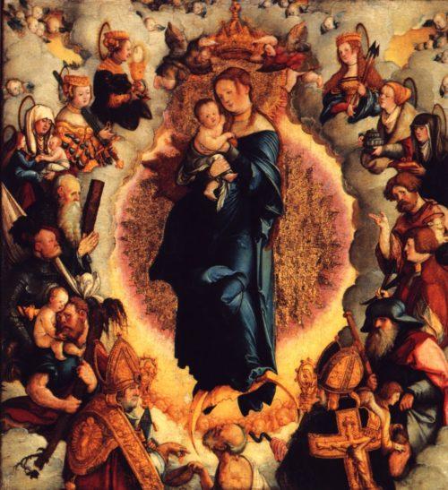 Maria rodeada de santos