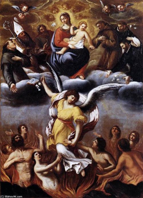 Un angel Libera las Almas del Purgatorio Ludovico Carracci en el vaticano