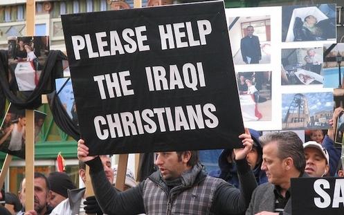cartel que pide ayuda de los cristianos iraquies