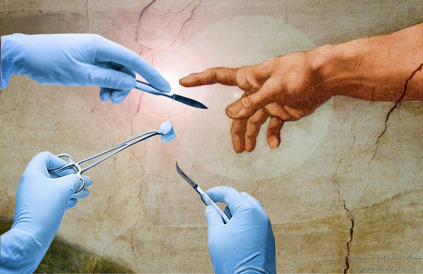 dios tocando los instrumentos de cirugia fondo