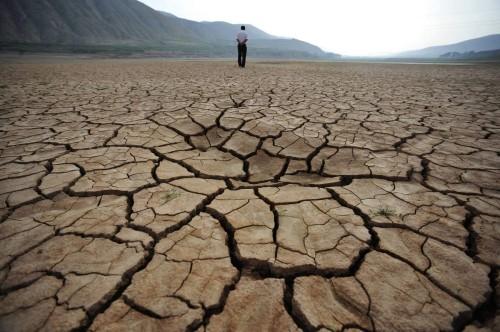 hombre y tierra seca fondo